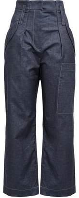 Brunello Cucinelli Cropped Cotton-blend Chambray Straight-leg Pants