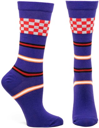 Ozone Womens Racing Stripes Sock-Violet OSFM