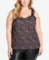 Jessica Simpson Trendy Plus Size Lace-Trim Tank Top