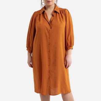 La Redoute Collections Plus Shirt Dress with 3/4 Length Puff Sleeves