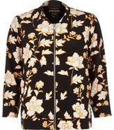 River Island Womens Black floral print bomber jacket