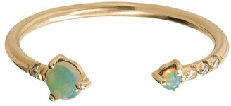 WWAKE 14kt Yellow Gold, Opal And Diamond Open Ring