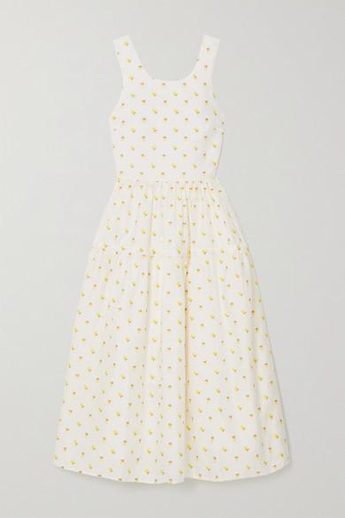 Stine Goya Tulula Open-back Tiered Floral-jacquard Midi Dress - White
