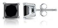 Auriya 14k Gold 3/4ctw Princess-cut Black Diamond Stud Earrings