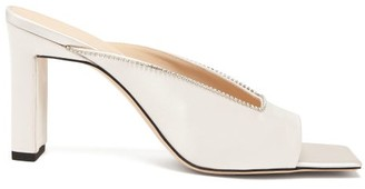 Wandler Isa Square-toe Crystal-embellished Satin Mules - Pearl