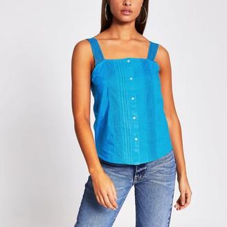 River Island Womens Blue sleeveless lace cami
