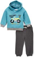 Kids Headquarters Light Blue Motorcycle Fleece Pullover Hoodie & Gray Pants - Boys