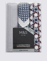 Marks and Spencer 3 Pack Pure Cotton Assorted Anti-Bacterial Handkerchiefs