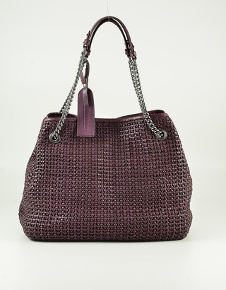 Ermanno Scervino Purple Woven Leather Tote Bag