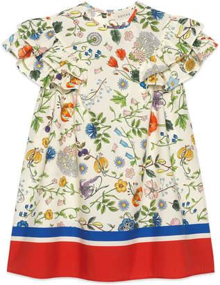 Gucci Flora Festival Printed Short-Sleeve Poplin Dress, Size 4-12