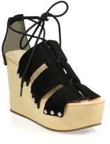 Loeffler Randall Ines Wooden Wedge Suede Platform Sandals