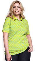 Lands' End Women's Plus Size Pique Polo Shirt-Cameo Blush Stripe