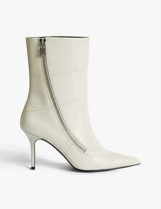 Reiss Hoxton zip-detail leather ankle boots