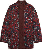 Etoile Isabel Marant Daca Floral-print Quilted Cotton Jacket - Burgundy