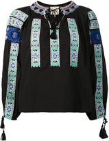 Sea embroidered peasant top