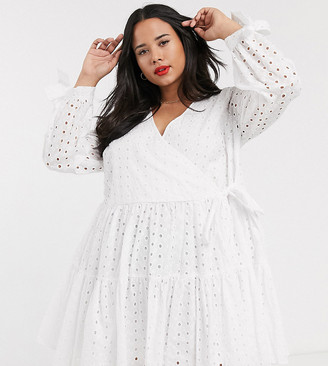 Asos DESIGN Curve broderie wrap trapeze tiered mini dress in white