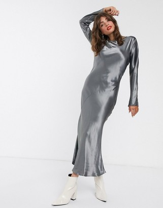 Weekday long sleeve satin maxi dress in dark grey