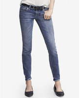 Express medium wash low rise thick stitch skinny jean