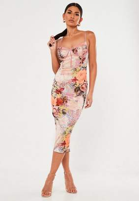 Missguided Peach Floral Animal Print Satin Corset Bodycon Midi Dress