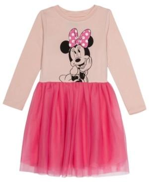 Disney Little Girls Minnie Mouse Dress with Mesh Skirt