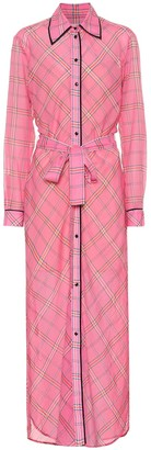Victoria Victoria Beckham Checked cotton and silk shirt dress