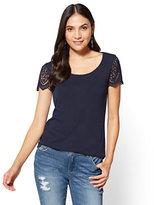 New York & Co. Crochet-Sleeve T-Shirt