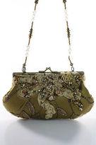 Mary Frances Olive Green Satin Beaded Applique Shoulder Handbag