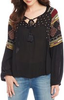 Chelsea & Violet Morocco Embroidered Peasant Top
