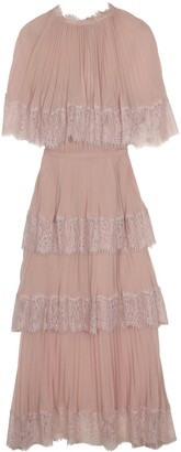 Self-Portrait Lace Trim Chiffon Dress