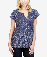 Lucky Brand Mixed-Print Blouse