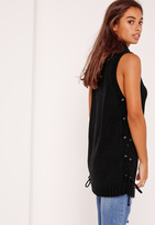 Missguided High Neck Sleeveless Lace Up Tunic Black