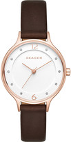 Skagen Skw2472 anita stainless steel and leather watch