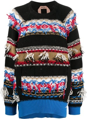 No.21 Crystal-Embellished Jacquard-Pattern Jumper