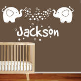 Personalised Name with 2 Baby Elephants Removable Kids Wall Sticker