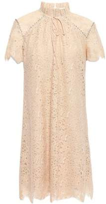 Sandro Bow-detailed Crystal-embellished Lace Mini Dress