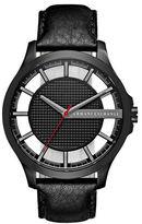 Armani Exchange Black IP Stainless Steel Black Leather Strap Watch, AX2180
