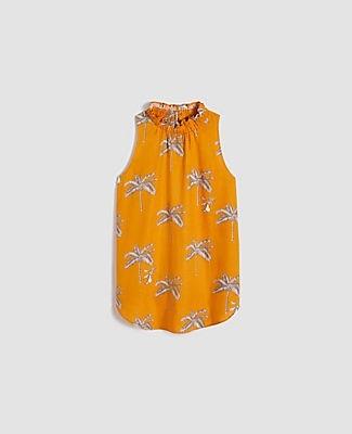 Ann Taylor Petite Palm Tree Ruffle Collar Shell Top