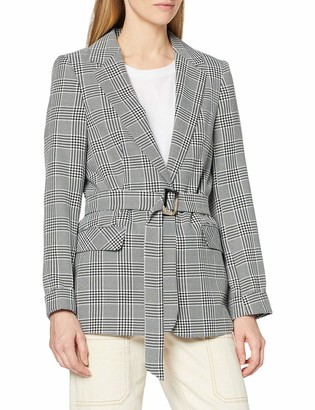 Miss Selfridge Women's Mono Check Belted Blazer Casual