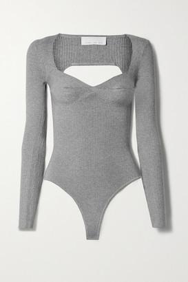 Fleur Du Mal Cutout Ribbed-knit Thong Bodysuit - Gray