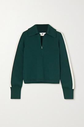 Cordova Striped Merino Wool-blend Polo Shirt - Dark green