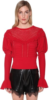 Self-Portrait Techno Knit Lace Top