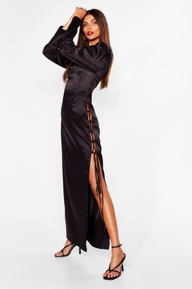 Nasty Gal Womens Wild Thoughts Satin Midi Dress - Black - 4, Black