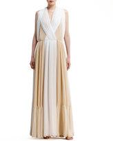 Chloé Two-Tone Pleated Organza Dress, White/Beige