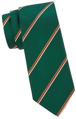 Salvatore Ferragamo Striped Textured Silk Tie