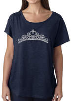 LOS ANGELES POP ART Los Angeles Pop Art Women's Loose Fit Dolman Cut Word Art Shirt - Princess Tiara