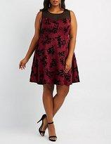Charlotte Russe Plus Size Floral Velvet Skater Dress