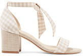 Alexandre Birman Clarita Bow-embellished Gingham And Canvas Sandals - Beige