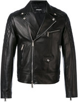 DSQUARED2 quilted panel biker jacket - men - Cotton/Calf Leather/Polyester - 52