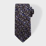Paul Smith Men's Black Floral Embroidery Narrow Silk Tie
