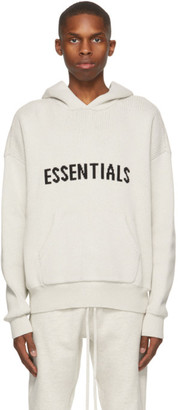Essentials Off-White Knit Logo Hoodie